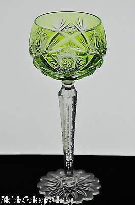 Val St Lambert / St Louis Lime Peridot Green Cut to Clear Crystal Wine Goblet