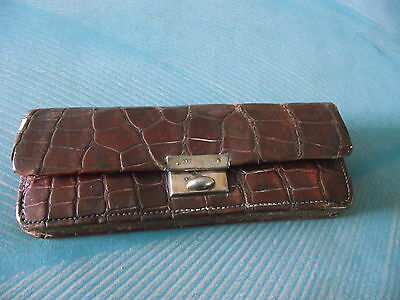 Vintage Crocodile Leather Coin Purse With Hallmarked Silver Fittings