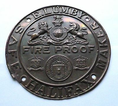 E.lumby - Halifax / Safe Maker / Fire Proof Safe Plate  /large Quality Plate