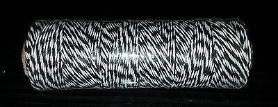 100m Parcel String Bakers Butchers Twine Shabby Chic Craft Yarn Black & White