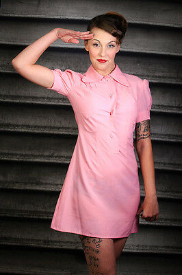 60s vintage pink mini dress with beagle collar MOD Scooter