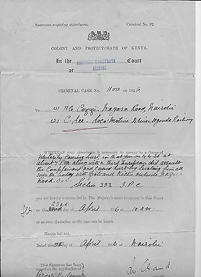 COURT SUMMONS - COLONY & PROTECTORATE of KENYA - 1926 - VIOLENT ASSAULT