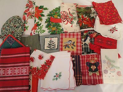 + 20 Pc. Christmas Linen Lot Tablecloths Towels Runners Aprons Smalls Some Vtg.