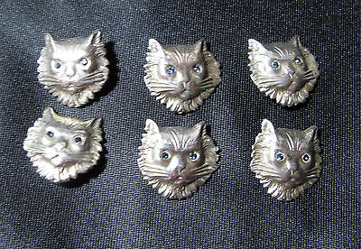 Extremely Rare Antique Set Of 6 Silver Realistic Cat Buttons With Paste Eyes