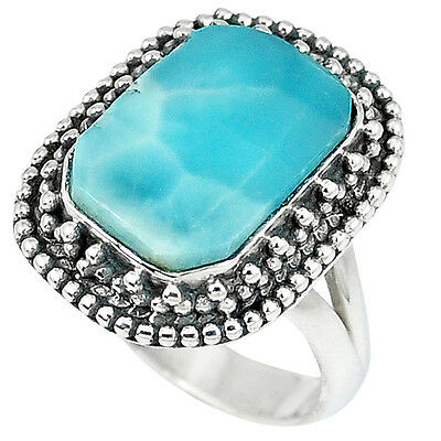 Natural Blue Larimar Octagan 925 Sterling Silver Ring Jewelry Size 7 K14762