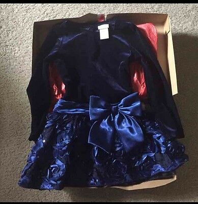 Girl's New Long-Sleeve Navy Blue Party Holiday Dress Macy's Size 4