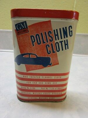 Vintage GM Dust Polishing Cloth Tin Can, W/ Org. Cloth Chevy, Pontiac Buick