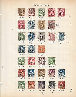 SUISSE Switzerland nice collection of older issues used on pages (10 pictures)