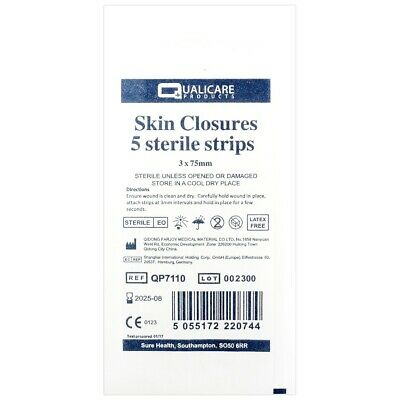 15 STERILE 3mm x 75mm WOUND/CUT CLOSURE STRIPS Skin Butterfly Medical Stitches