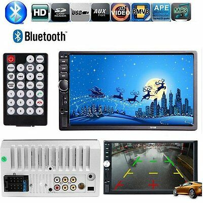"""7"""" HD Touch Screen Double 2DIN Car Player Stereo FM  Bluetooth Radio TFT 1080P"""