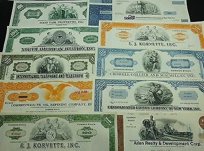 COLLECTION with 10 different U.S. Shares & Bonds Certificates LOT-25