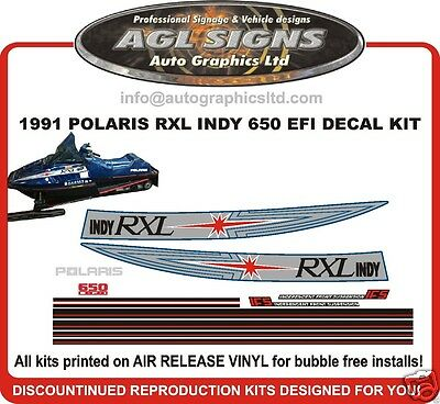 1991 POLARIS INDY RXL 650 EFI DECALS graphics Reproduction