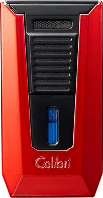 COLIBRI SLIDE 2 TORCH JET FLAME LIGHTER w. CIGAR PUNCH RED / BLACK ** NEW **