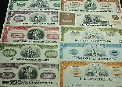 COLLECTION with 10 different U.S. Shares & Bonds Certificates LOT-27