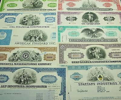 COLLECTION with 10 different U.S. Shares & Bonds Certificates LOT-28