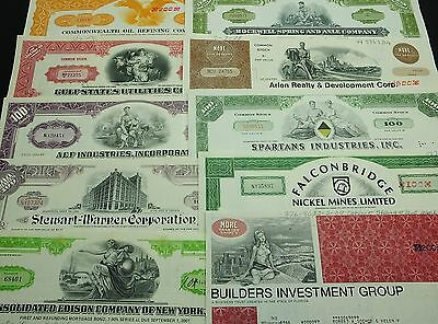 COLLECTION with 10 different U.S. Shares & Bonds Certificates LOT-32