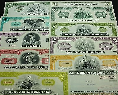COLLECTION with 10 different U.S. Shares & Bonds Certificates LOT-33