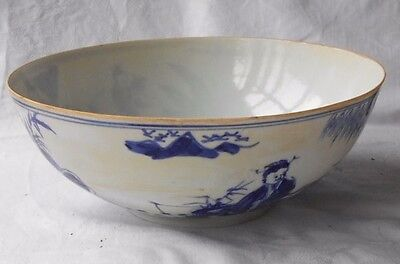 Chinese Blue And White Egg Shell Bowl Decorated With People And Trees