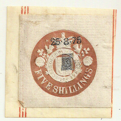 1875 GB REVENUE LABEL EMBOSSED FIVE SHILLINGS USED w/VR STAMP HONI SOIT QUI...