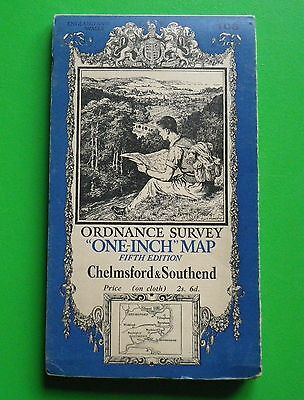 VINTAGE CLOTH ORDNANCE SURVEY MAP No. 108 - CHELMSFORD & SOUTHEND
