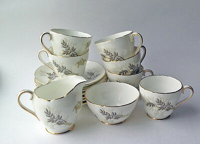 Adderley Fine Bone China Tea Set, Lyncroft Pattern Six Demitasse Cups and Saucer