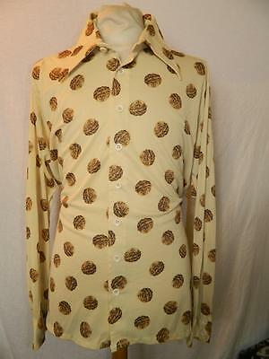 (sts013) Vintage American Original 1970s patterned disco shirt by Prince Ogor XL