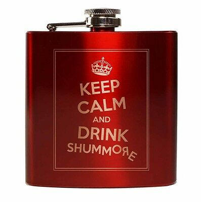 E-Volve Hip flask 6 oz stainless steel Keep Calm And Drink Shummore - Crimson Re