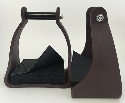 Plastic Stirrups Trail Endurance Horse Riding 3 Inch Neck Foam Pad Brown ASIS