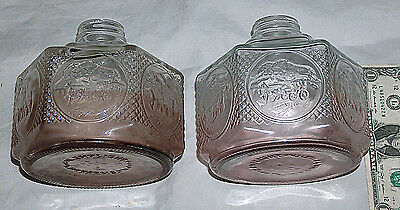 "VINTAGE AMERICANA LAMPLIGHT FARMS 5.5"" HORSE BUGGY Clear Glass OIL LAMP SET BASE"