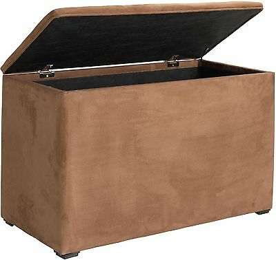 NEW Seetall Faux Suede Ottoman Storage Foot Stool Box Seat - Chocolate