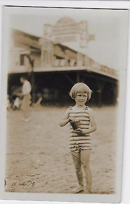 SOCIAL HISTORY - LITTLE GIRL ON BEACH IN STRIPY SWIMSUIT - SUNBEAM PHOTO Margate