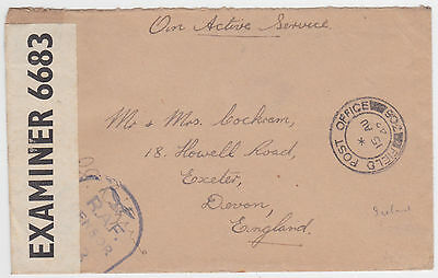 Iceland 1942 Field Post Office 306 Double Censor Raf Oas Env- Gb