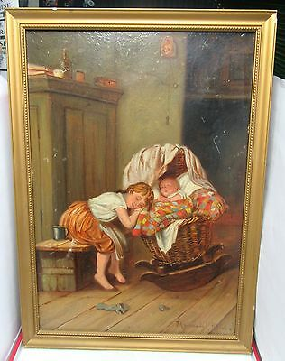 Victorian Oil Painting.young Girl Sleeping By Baby. By. F.a.mulready 1893