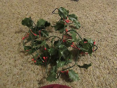 Vintage Plastic Christmas Holly/Red Berry Garland  - 11 Feet Long