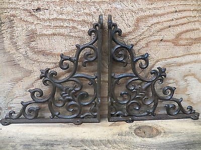 "Lot/Set 2 Antique-Style Cast Iron FANCY 9 1/2"" x 9 1/2"" SHELF BRACKETS Hangers"