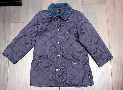 Barbour Genuine Fantastic Boys Dark Blue Quilted Coat Age 9-10 Years Vgc