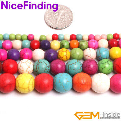 Round Mix Color Howlite Turquoise Stone Beads For Jewelry Making Loose Beads 15""