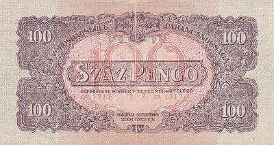 100 Pengo Red Army Note With Anti Bolschevik Text On Back 1944!!hungary!