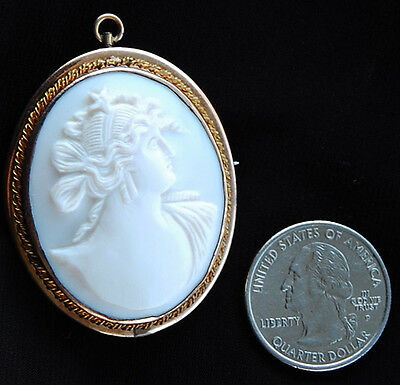 ULTRA RARE ANTIQUE WHITE CORAL CAMEO OF AURORA, Goddess of Dawn with Star