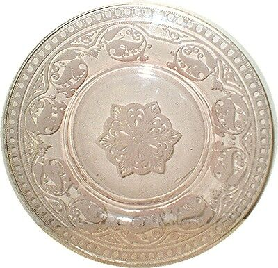 CORAL-PINK DEPRESSION GLASS PLATE   Ornate  Wing-motif