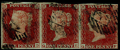 Sg10, 1d deep red-brown, used. STRIP OF 3.