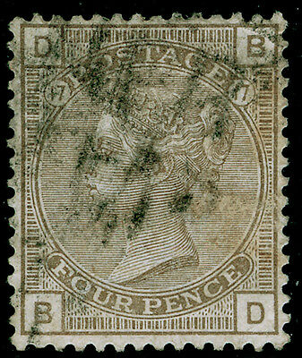 Sg160, 4d grey-brown plate 17, used. Cat £65. BD