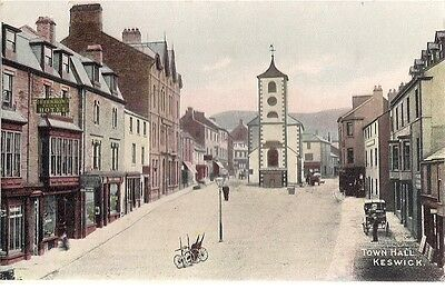 Lovely Rare Old Hand Tinted Postcard - Town Hall - Keswick - Cumbria 1910