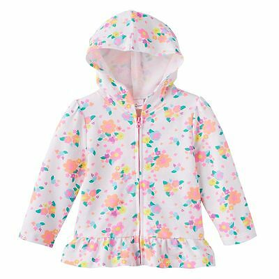 Jumping Beans Girl's White Flowers Ruffle Full Zip Hoodie Size 24 Months NWT