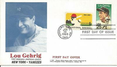 2417 Lou Gehrig/baseball Combo Fdc - Unknown Cachet