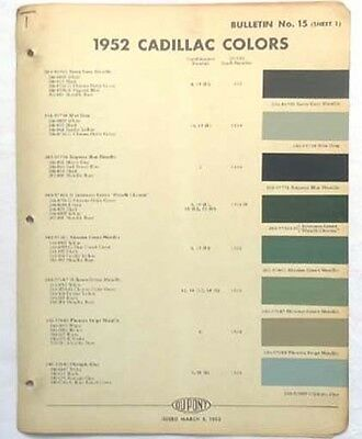 1952 Cadillac Dupont Color Paint Chip Chart All Models