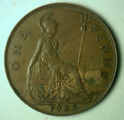 1935 Bronze One Pence UK One Penny Britain Coin XF