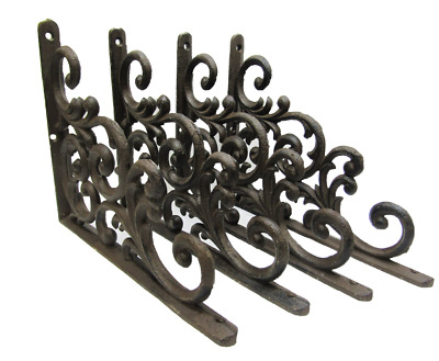 Lot/Set 4 Antique-Style Cast Iron Fancy 9.25 x 7.5 x .75 inch SHELF BRACKETS Han