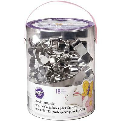Wilton EASTER METAL COOKIE CUTTER TUB SET of 18 Pastry Cutters