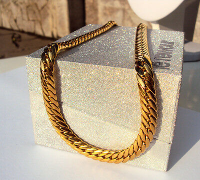 """Gold Authentic 18K Solid Gold Filled Men's  Cuban Link Chain Necklace Sz 24"""" 9Mm"""